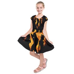 Heart Love Flame Girl Sexy Pose Kids  Short Sleeve Dress