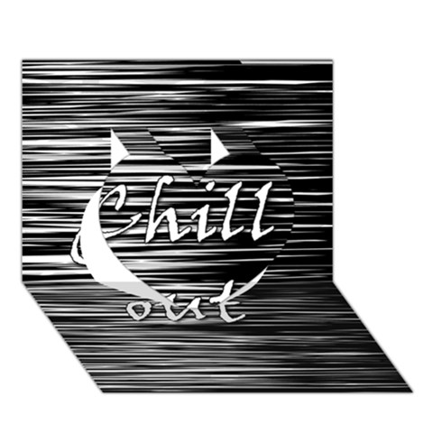 Black an white  Chill out  Heart 3D Greeting Card (7x5)