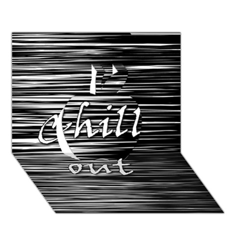 Black an white  Chill out  Apple 3D Greeting Card (7x5)