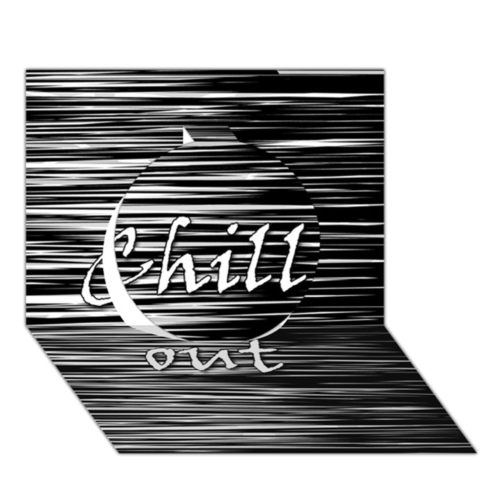 Black an white  Chill out  Circle 3D Greeting Card (7x5)