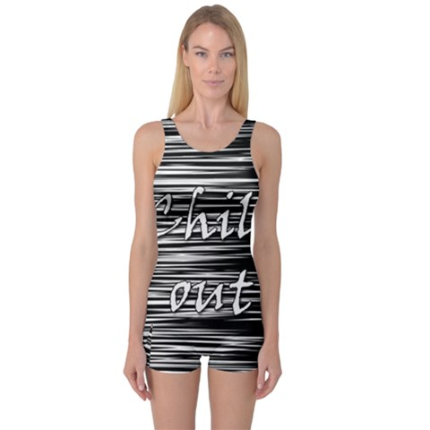 Black an white  Chill out  One Piece Boyleg Swimsuit
