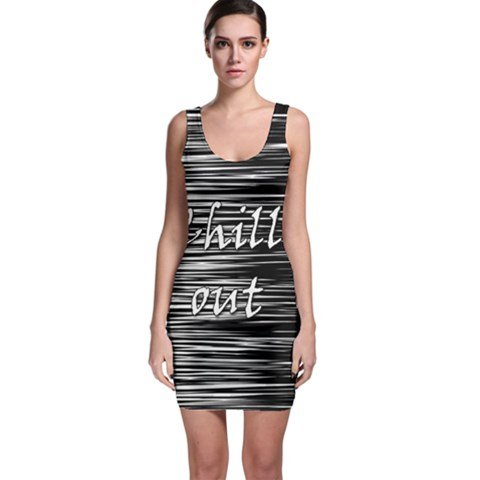 Black an white  Chill out  Sleeveless Bodycon Dress