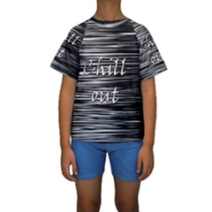 Black an white  Chill out  Kids  Short Sleeve Swimwear