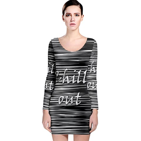 Black an white  Chill out  Long Sleeve Bodycon Dress
