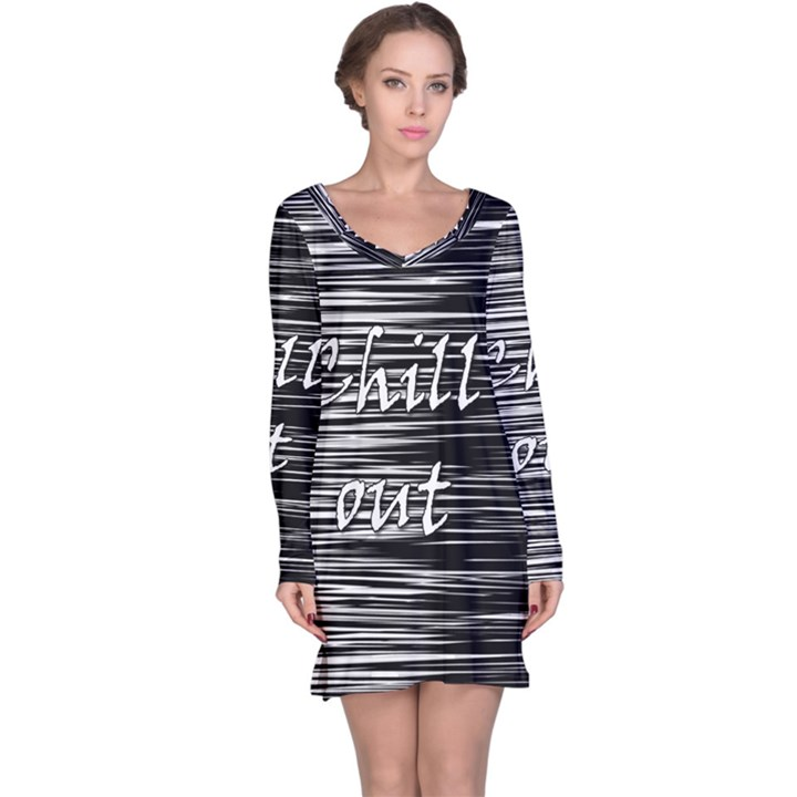 Black an white  Chill out  Long Sleeve Nightdress
