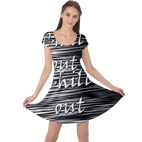 Black an white  Chill out  Cap Sleeve Dresses