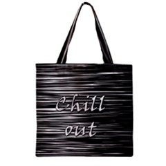 Black An White  chill Out  Zipper Grocery Tote Bag