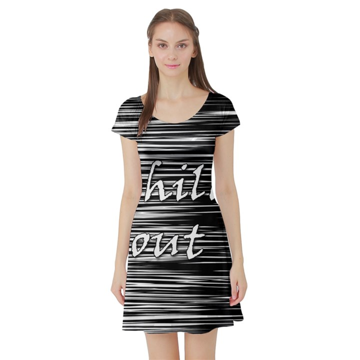 Black an white  Chill out  Short Sleeve Skater Dress