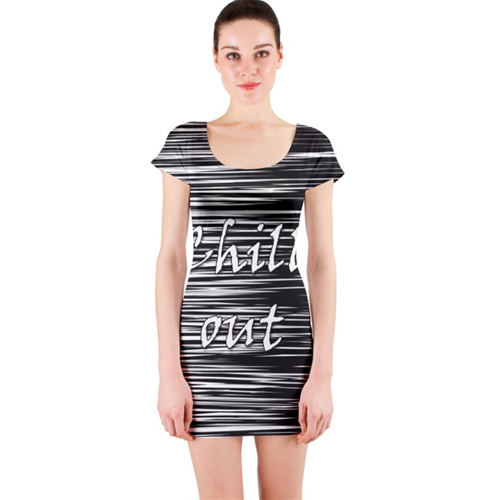 Black an white  Chill out  Short Sleeve Bodycon Dress