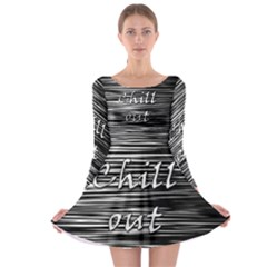Black an white  Chill out  Long Sleeve Skater Dress
