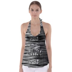 Black An White  chill Out  Babydoll Tankini Top