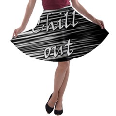 Black an white  Chill out  A-line Skater Skirt