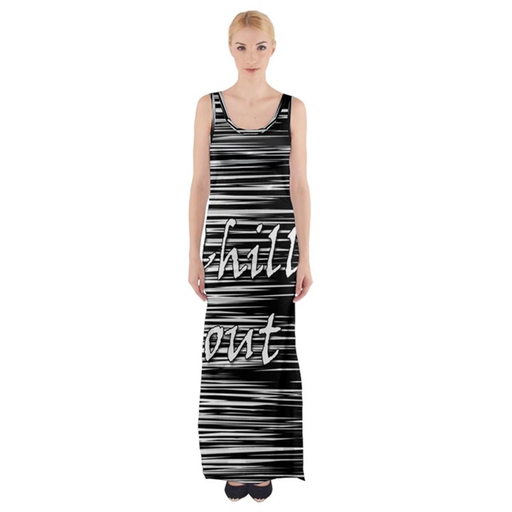 Black an white  Chill out  Maxi Thigh Split Dress
