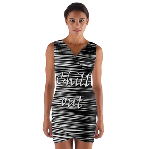 Black an white  Chill out  Wrap Front Bodycon Dress