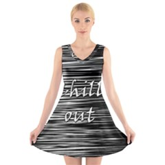 Black an white  Chill out  V-Neck Sleeveless Skater Dress