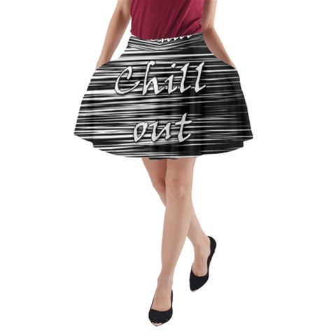 Black an white  Chill out  A-Line Pocket Skirt
