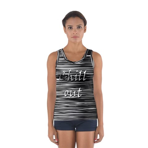 Black an white  Chill out  Women s Sport Tank Top