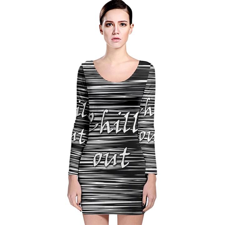 Black an white  Chill out  Long Sleeve Velvet Bodycon Dress