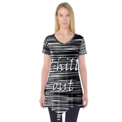 Black an white  Chill out  Short Sleeve Tunic