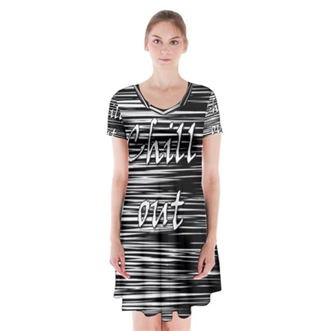 Black an white  Chill out  Short Sleeve V-neck Flare Dress