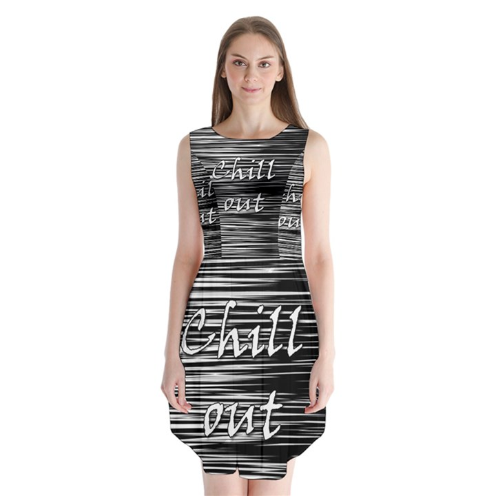 Black an white  Chill out  Sleeveless Chiffon Dress