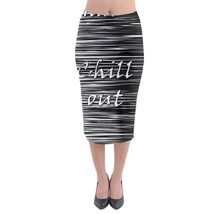 Black an white  Chill out  Midi Pencil Skirt