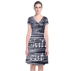 Black An White  chill Out  Short Sleeve Front Wrap Dress