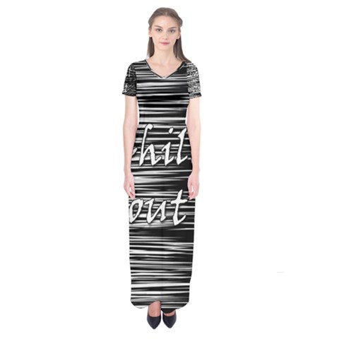 Black an white  Chill out  Short Sleeve Maxi Dress