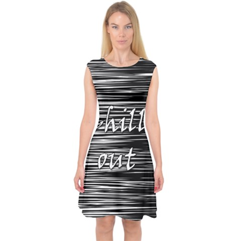Black an white  Chill out  Capsleeve Midi Dress