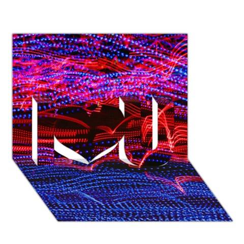 Lights Abstract Curves Long Exposure I Love You 3D Greeting Card (7x5)