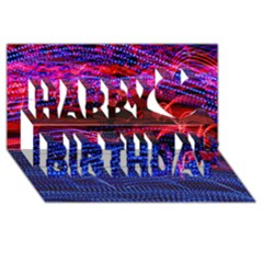 Lights Abstract Curves Long Exposure Happy Birthday 3D Greeting Card (8x4)