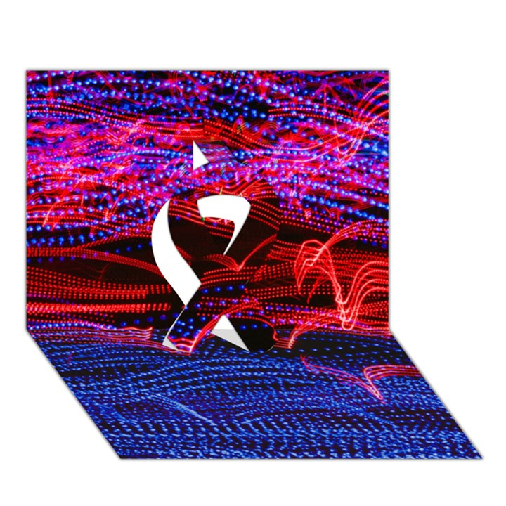 Lights Abstract Curves Long Exposure Ribbon 3D Greeting Card (7x5)