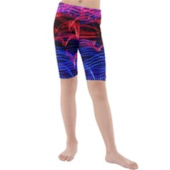 Lights Abstract Curves Long Exposure Kids  Mid Length Swim Shorts