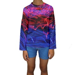 Lights Abstract Curves Long Exposure Kids  Long Sleeve Swimwear