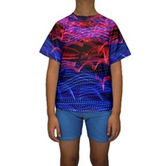 Lights Abstract Curves Long Exposure Kids  Short Sleeve Swimwear