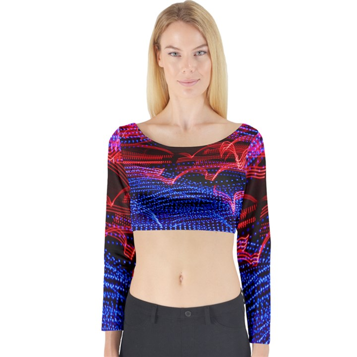 Lights Abstract Curves Long Exposure Long Sleeve Crop Top