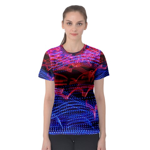 Lights Abstract Curves Long Exposure Women s Sport Mesh Tee