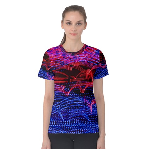 Lights Abstract Curves Long Exposure Women s Cotton Tee