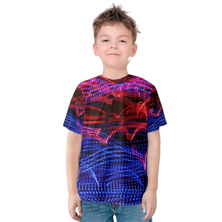 Lights Abstract Curves Long Exposure Kids  Cotton Tee