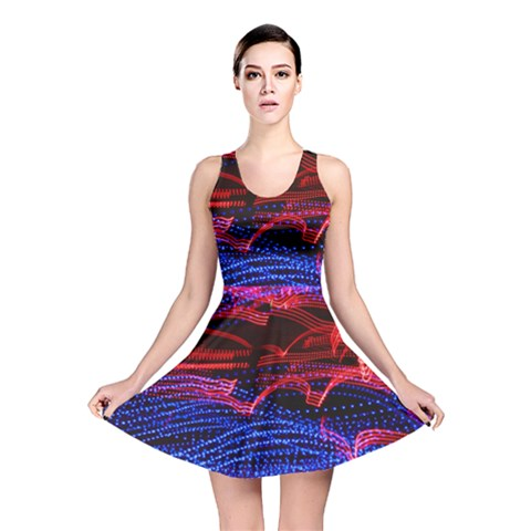 Lights Abstract Curves Long Exposure Reversible Skater Dress