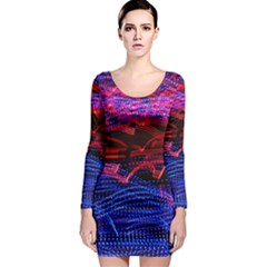 Lights Abstract Curves Long Exposure Long Sleeve Bodycon Dress