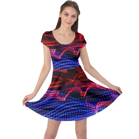 Lights Abstract Curves Long Exposure Cap Sleeve Dresses