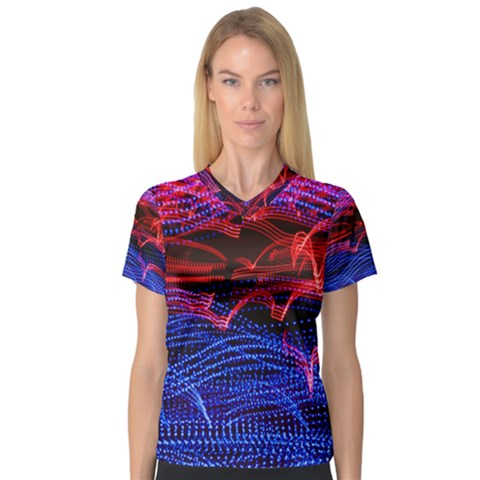 Lights Abstract Curves Long Exposure Women s V-Neck Sport Mesh Tee