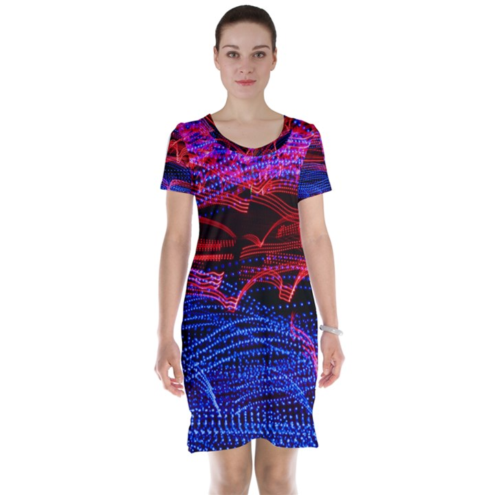 Lights Abstract Curves Long Exposure Short Sleeve Nightdress