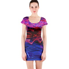 Lights Abstract Curves Long Exposure Short Sleeve Bodycon Dress