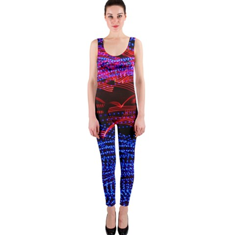 Lights Abstract Curves Long Exposure OnePiece Catsuit