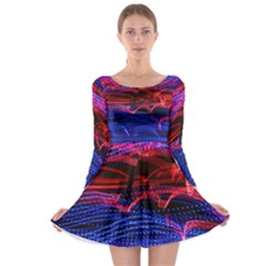 Lights Abstract Curves Long Exposure Long Sleeve Skater Dress