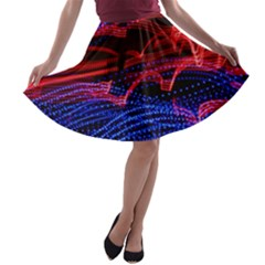 Lights Abstract Curves Long Exposure A-line Skater Skirt