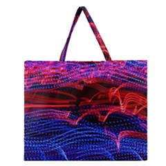 Lights Abstract Curves Long Exposure Zipper Large Tote Bag