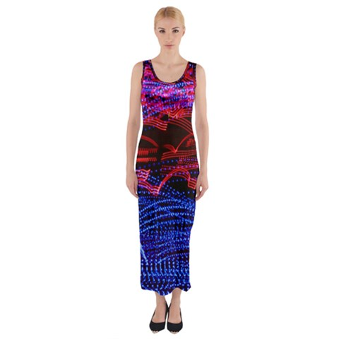 Lights Abstract Curves Long Exposure Fitted Maxi Dress